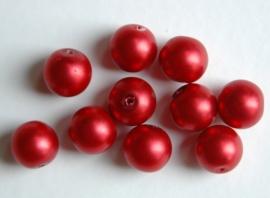 Rode parels met satijnglans 12 mm (P77BK)