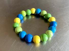 Armband in helder geel, groen en blauw (ABH-013)