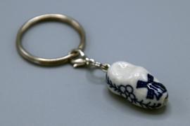 Sleutelhanger Delfts Blauw keramiek - klompje
