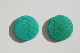 Grote platte schijven, turquoise-teal met goudmarmering (AC-004)
