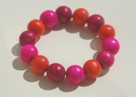 Armband Hot Pink met oranje en paars/rose (ABH-007)