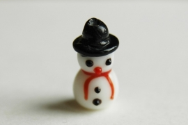 Sneeuwpopje, handgemaakte lampworkkraal (K-005-PH)