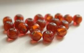 Oranje - bruine silverfoil-kralen (CB-061-ZN)