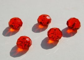 Facetkralen in diep oranje-rood, 12x8mm. Kristalglas! (F-043-SF)