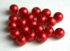 Rode parels met satijnglans 8 mm (P76BK)