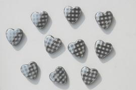 Hartjeskralen met zilverkleurig ruitmotief (AC-039-SF)