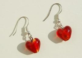 Oorbellen: Rode silverfoil hartjes (OBF-019)