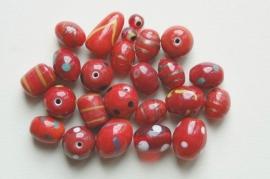 Rode mix versierde kralen (BH-039-BK)