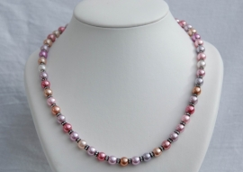 Ketting in rose-lila-beige nuances met kristal (SW12)
