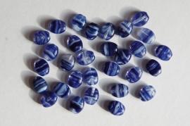 Delftsblauw gestreepte platte ovaaltjes (CB-070)