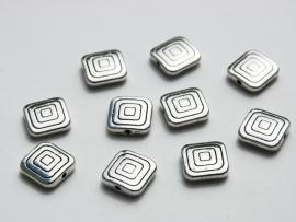 Platte vierkante kralen van Tibetaans Zilver (M-019-PH)