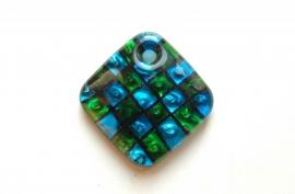 Glashanger, handgemaakt, blauw-groen geblokt. Beauty!! (K-007-PH)
