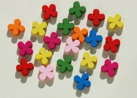 Houten bloemetjeskralen, kleurige mix (H-002)