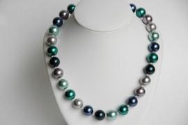 Ketting met grote parels in groen-blauwnuances, met Swarovski (SW-021)