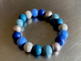 Armband in blauw, -zeegroen - en grijstinten (ABH-012)