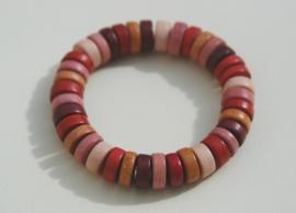 Armband in roodbruin, oudrose en bruintinten WOW (ABH-006)