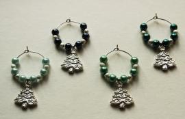 Kerst-winecharms in blauw-groen nuances (WCT-012)