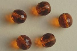 Amberkleurige facetkraal12 mm (F-023-BH)