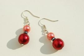 Pareloorbellen: Rood en roserood met kristal (OBK-009)