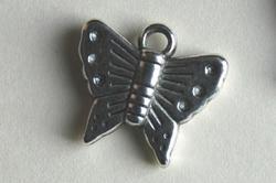 Vlinder, metal look hanger - bedel (MHB-004-ZN)