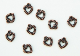 Bedels: Kleine hartjes in rood koperkleur (M-070-PH6)