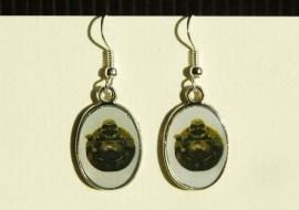 Boeddha-oorbellen, donkergroen met witte achtergrond (OBF-018)