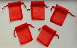 Organza zakjes, rood 6 x 8 cm