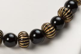 Stoere parelketting met grote zwart-goudgestreepte kralen (KD-007)