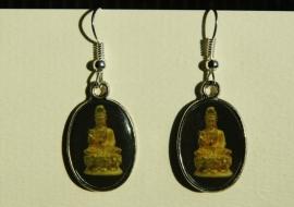 Boeddha-oorbellen, oker met zwarte achtergrond (OBF-17)