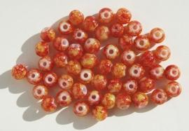 Oranje-rood-gele ronde glaskraaltjes (K-024-PH)