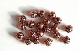 Roodkoperen roosjes kunstof 8 mm (AC-019)