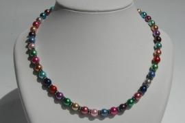 Multicolor glasparels met kristal rondellen. Heel mooi, heel vrolijk! (SW-15)