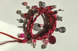 Wrap bracelet in rose-rood (AB-016)