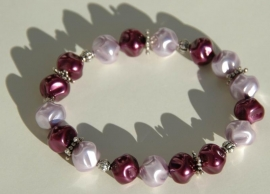 Armband in zacht-lila met aubergine (AB-10-E)