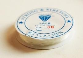 Sieraden - elastiek, transparant, 0,8mm dik