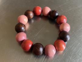 Armband in bruin, oudroze en zachtrood (ABH-014)