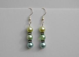 Lichtblauw en twee maal groen met Rhinestone kristal (OBK-004)