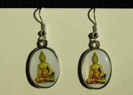 Boeddha-oorbellen, geel-groen met witte achtergrond  (OBF-016)