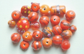 Oranje mix  versierde kralen (BH-038-BK)