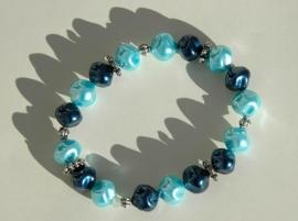 Armband in donkerblauw en aqua (AB-09-E)