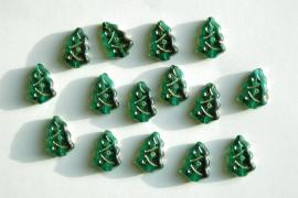 Kerstboompjes in smaragdgroen met goud (CB-039)