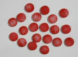 Platte ronde kralen in rood met witte streepjes (AC-036)
