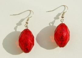 Oorbellen: Rood silverfoil facet, feestelijk mooi! (OBD-008)