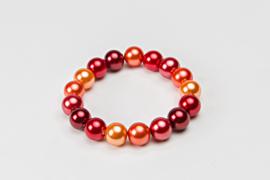 Parelarmband in warme rood-oranjetinten (ABP-010)