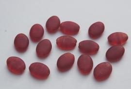 Platte ovaalkralen in donkerrood - licht amber-doorschijnend (CB-081)