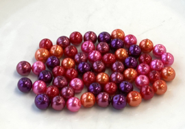 Parelmix in hot pink, oranje, warmrood, bordeauxrood en paars, 8 mm (P-040)
