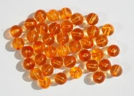 Transparant licht oranje ronde kralen 12mm (AC-034)