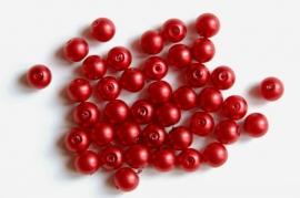 Rode pareltjes met satijnglans  6mm (P75BK)