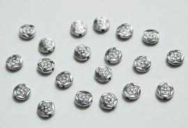 Platte ronde kralen van Tibetaans Zilver (M-021-PH)