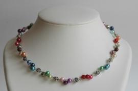 Multicolor glaspareltjes-ketting, Geweldig !!! (DD-026)
